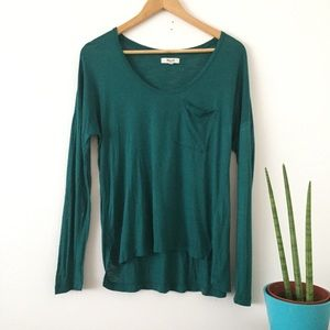 MADEWELL Long Sleeve Pocket Scoop Top Green S